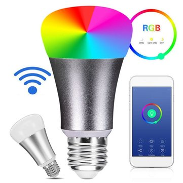 E27 7W RGBW WiFi Remote Control LED Smart Light Bulb for Google Home AC85-265V