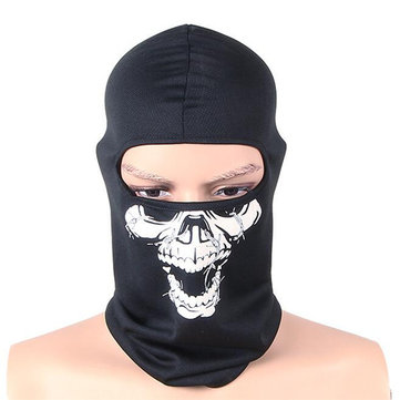 Mens Skull Print Multi-Use Headwear Face Mask Motorcycle Cap
