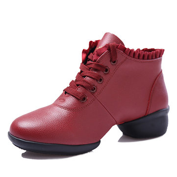 Lace Up Round Toe Soft Sole Dancing Wedge Shoes