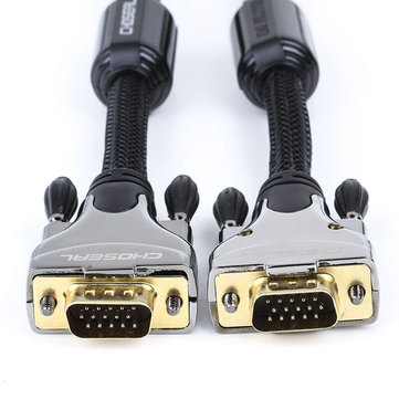 Choseal VGA(3+9) Male To Male Cable Double Magnetic Ring Engineering Cable For TV Box Projector