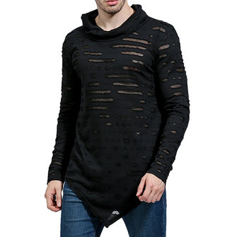 Hip Pop Cotton Loose Irregular Pure Color Long Sleeve Casual T-shirts for Men