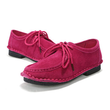 Women Casual Shoes Outdoor Lace Up Round Toe Soft Suede Flat Loafers