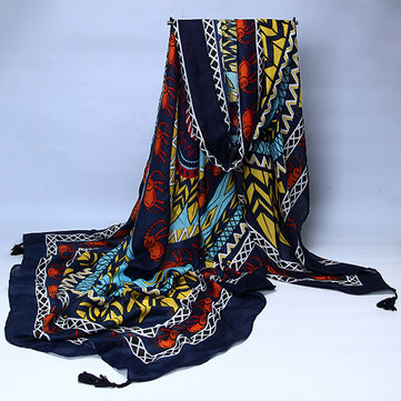 Women Ladies Flower Geometric Printed Oversized Folk Style Shawl Beach Cover Up Tassel Scarf