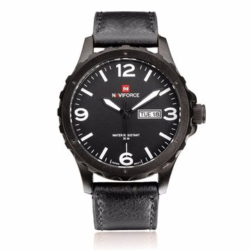NAVIFORCE NF9039M Military PU Leather Week Date Display Men Quartz Watch