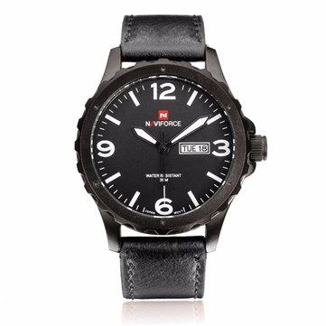 NAVIFORCE NF9039M Military PU Leather Week Date Display Men Quartz Watch