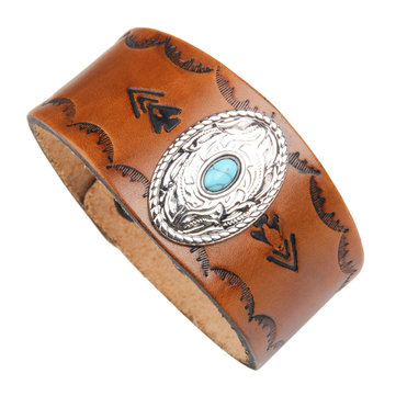 Punk Alloy Wide Genuine Leather Bracelet Inlaid Turquoise