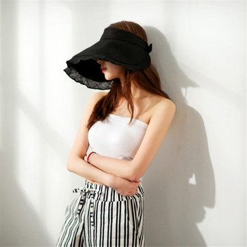 Women Summer Foldable Sun Visor Hat Outdoor Anti-UV Beach Travel Top Hat