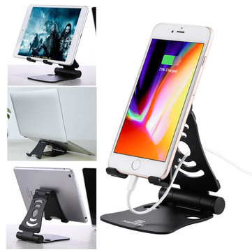 Haweel Aluminum Alloy Dual Axes Foldable Anti-slip Desktop Holder Stand for Xiaomi Mobile Phone iPad