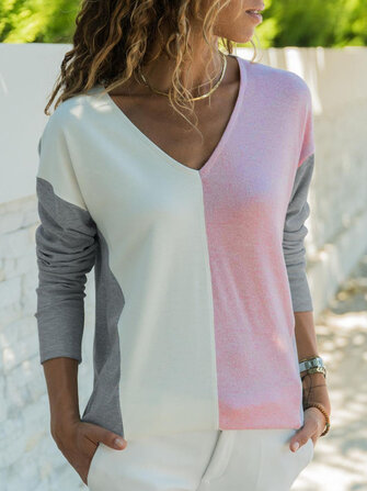 Women Two-tone Patchwork V-neck Long Sleeve Blouse