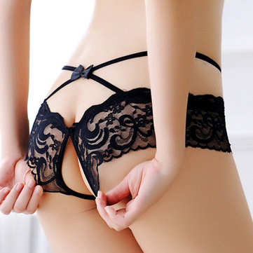 Sexy Lace Bow-knot Perspective Crotch Open Bandage Lingerie Panties