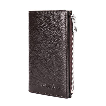 Men Genuine Leather Long Wallet Credit Card Holder with Zipper Pocket