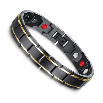Black 316L Titanium Health Magnetic Bracelet Jewelry for Men