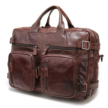 High-capacity Vintage Genuine Leather Men Bag Laptop Bag