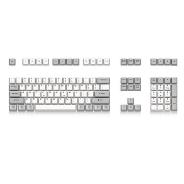 Akko X Ducky 108 Key OEM Profile PBT Keycaps Dye-sub White Gray Keycap Set for Mechanical Keyboard
