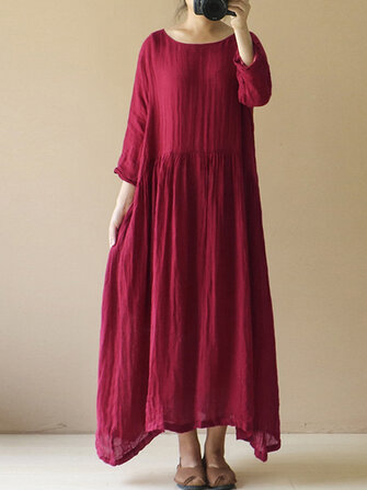 Women Vintage Long Sleeve Cotton Linen Baggy Tunic Maxi Dress