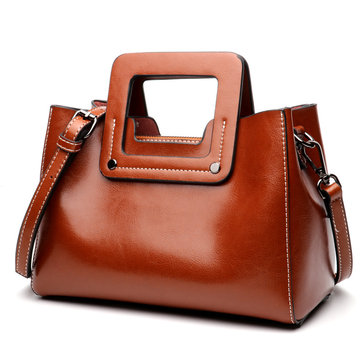 Genuine Leather Women Waterproof Messenger Bags Casual Handbag with Shoulder Strap