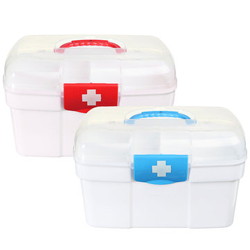 2 Layers Plastic Medicine Storage Box Chest Drug First Aid Kit Holder
