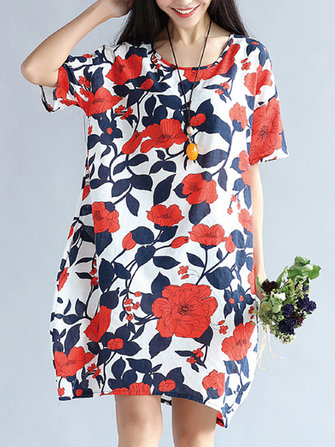 S-5XL Vintage Women Floral Printed Dress