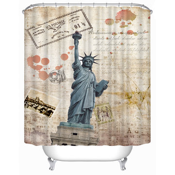 72x72 -Inch Completely Polyester Colormix Car Series Shower Curtains with 12 hocks