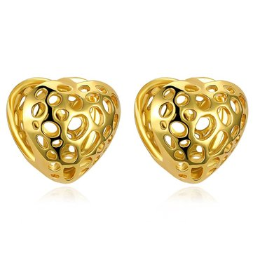 INALIS Trendy Gold Plated Earring Heart Tin Alloy Strawberry Shape Ear Stud for Women