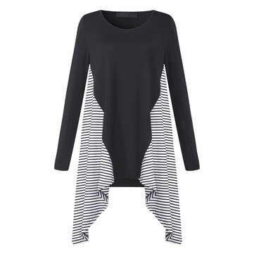 Casual Long Sleeve Striped Patchwork Irregular Hem T-shirts For Female