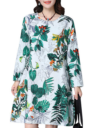 Casual Women Loose Printing Long Sleeve Elegant Dress