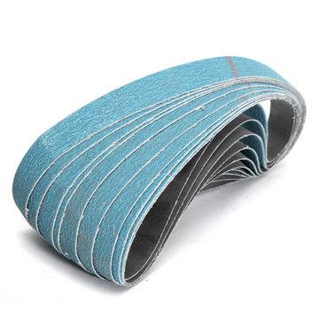 10pcs 40/60/80/120 Grit 20x520mm Blue Zirconium Sanding Sander Pneumatic Belts