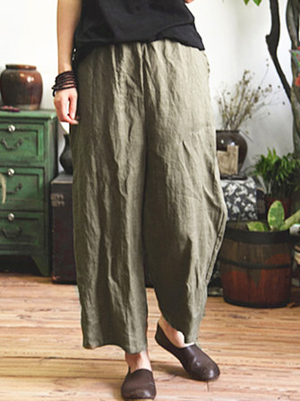 Women Vintage Elastic Waist Casual Loose Wide Leg Pants