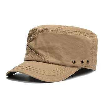 Mens Cotton Breathable Flat Top Caps With Ventilation Holes Solid Sunshade Military Army Hat