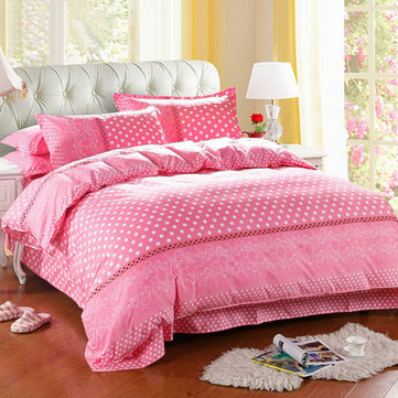 3 Or 4pcs Dot Pattern Paint Printing Cotton Blend Bedding Sets Twin Full Queen Size