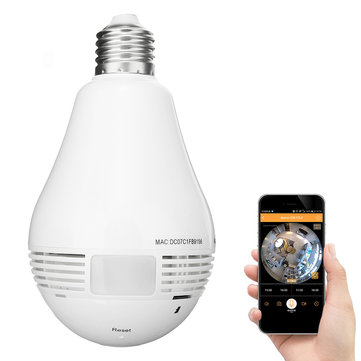 Mini WiFi IP Hidden Camera Light Bulb Security Camera 960P 360 Degree Panoramic