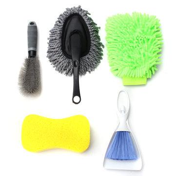 5PCS Car Interior Exterior Wash Cleaning Tool Kit Cleaner Brush Sponge Glove