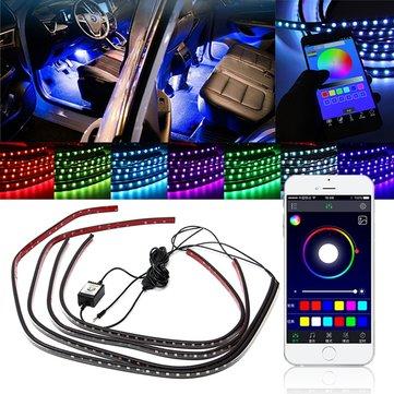 4pcs APP 음성 무선 제어 LED 인테리어 자동차 장식 네온 스트립 라이트