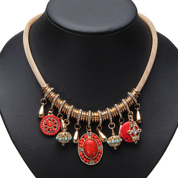 Vintage Retro Personality Turquoise Pendant Women Statement Necklace