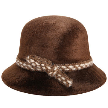 Women Middle-Aged Lady Wool Gold Velet Basin Cap