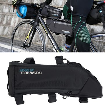 ROSWHEEL 4L Waterproof Bicycle Frame Bag Front Tube Pouch Pannier Black