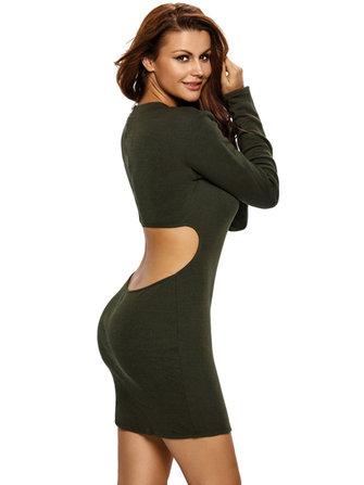 Sexy femmes retour creux fermeture à glissière manches longues pochette hanche mini