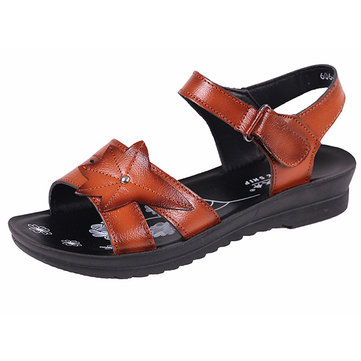 Women Leather Soft Sole Flat Sandals