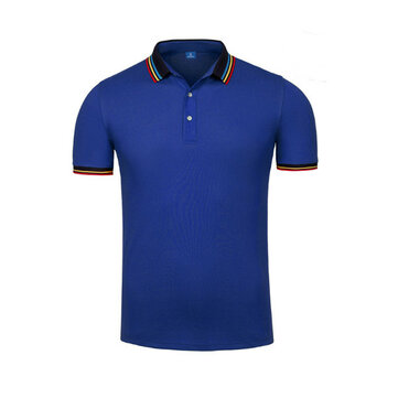 Summer Casual Mens Business Solid Color High End Lapel Polo Shirt Soft Cotton Short Sleeve T-shirt