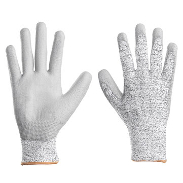 1 Pair Breathable Cotton PU Gardening Work Gloves Level 5 Anti-cutting Working Gloves