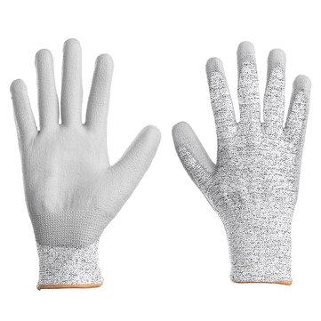 1 Pair Breathable Cotton PU Gardening Work Gloves Level 5 Anti-cutting Working Gloves