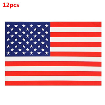 12pcs 5cmx2.5cm USA Flag Car Sticker Front and Reverse Side PVC Auto Window Decal
