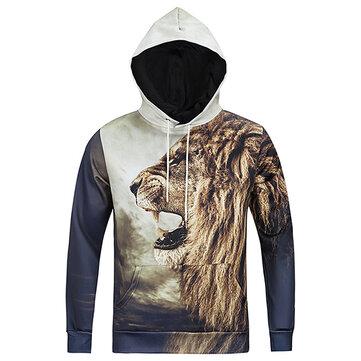 Hoodies desporto hoodies casuais moda inverno homens 3d animais impressão pullover
