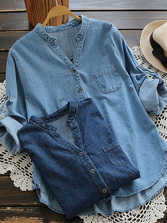 Women Adjustable Sleeve Denim Blouses