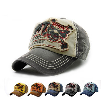 Unisex Halloween Cotton Washed Skeleton Embroidery Baseball Cap Vintage Skull Adjustable Golf Snapback Hat