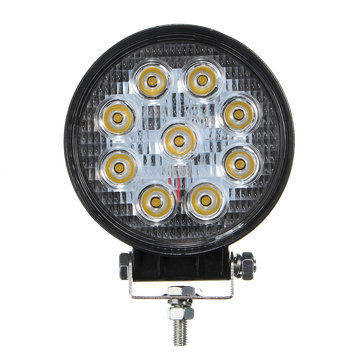 27W 9LED Work Round For Off Road Truck SUV ATV Fog Headlamp Yellow Light