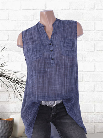 Buckle V-neck Pockets Tie-dyed Sleeveless Shirts