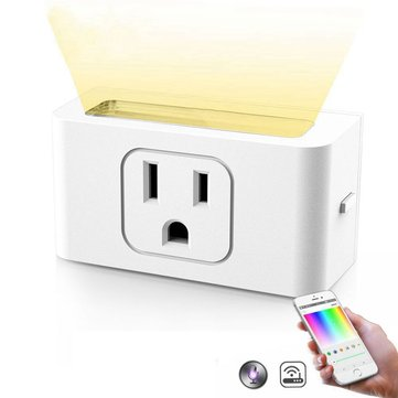 Smart Wifi Socket US Plug With Dimmable LED Night Light Wireless APP Remote Control White Light