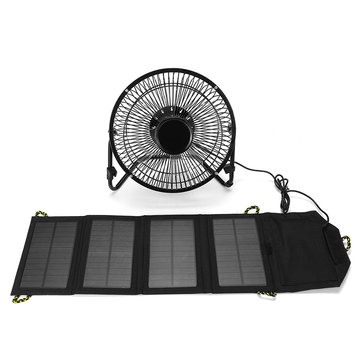 8 Inch USB Solar Sensor Cooling Fan+7W Folding Solar Panel Bag For Mobile Phone Charger Power Sets