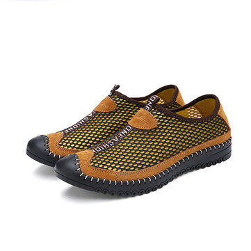 Men Summer Outdoor Sport Flat Breathable Fashion Round Toe Hollow Out Mesh Athletic Shoes